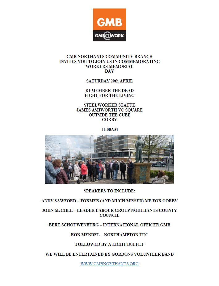 Workers memorial day commemorations Corby 2017